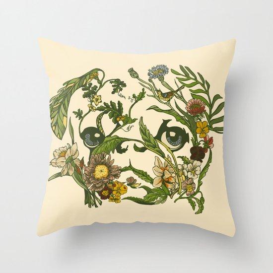 Botanical Pug Throw Pillow