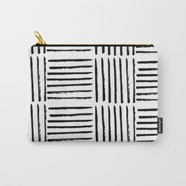 Modern black white watercolor paint brushstrokes Carry-All Pouch