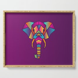 Elephant   Geometric Colorful Low Poly Animal Set Serving Tray