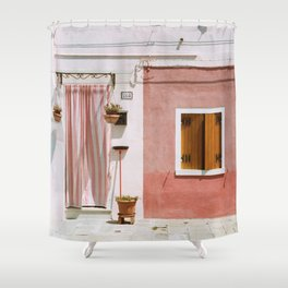 Sunny pink house Shower Curtain