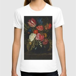 """Maria van Oosterwijck """"Flowers in a vase on a marble ledge"""" T-shirt"""