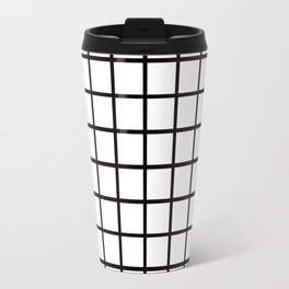 Simply Minimalistic Grid Line Pattern-Black & White- Mix & Match with Simplicity of Life Travel Mug