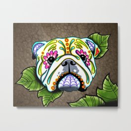 English Bulldog - Day of the Dead Sugar Skull Dog Metal Print