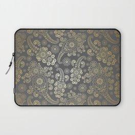 Golden Luxury Paisley on Dark Gray Background Laptop Sleeve