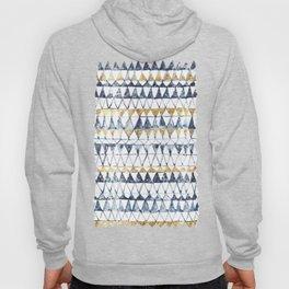 Watercolor Indigo Blue Gold Triangle Tribal Pattern Hoody