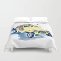 jeep Duvet Covers featuring Animal Jeep by Claire Sianna