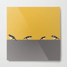 Mustard Magpies Metal Print