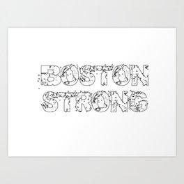 Support BOSTON STRONG White Grunge Art Print