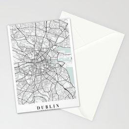 Dublin Ireland Blue Water Street Map Stationery Cards