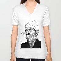 zissou V-neck T-shirts featuring Team Zissou by John C Thurbin