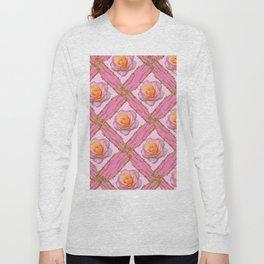 CREAMY  ROSES & RAMBLING THORNY CANES ON  PINK  DIAGONAL PATTERNS Long Sleeve T-shirt