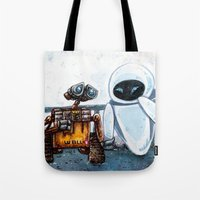 wall e Tote Bags featuring Wall-E by Agui-chan