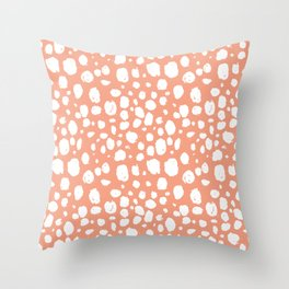 Painterly Dots in Peach and White Throw Pillow