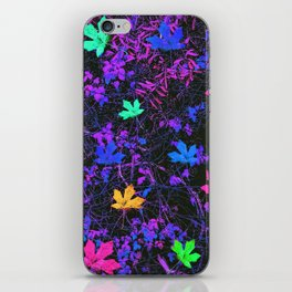 colorful maple leaf with purple and blue creepers plants background iPhone Skin