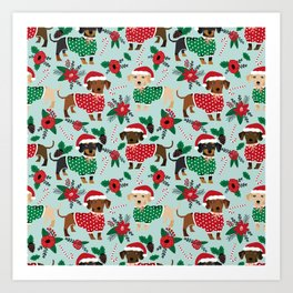Dachshund christmas sweater florals poinsettia holiday red and white santa hat for dog lover Art Print