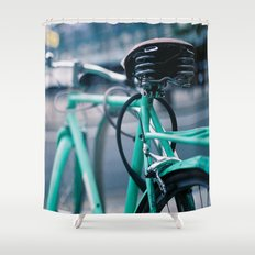 Riding Backwards Shower Curtain