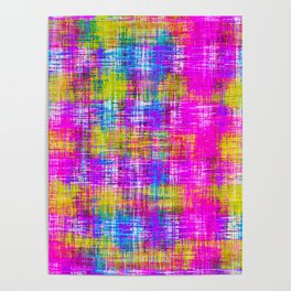plaid pattern painting texture abstract background in pink purple blue yellow Poster