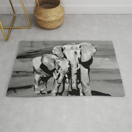 Black and white mother and baby elephant Rug