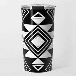 Aztec boho ethnic black and white Travel Mug