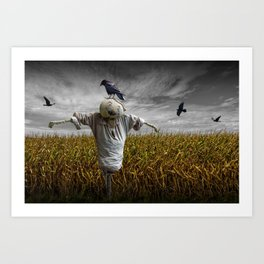Scarecrow with Black Crows over a Cornfield Art Print