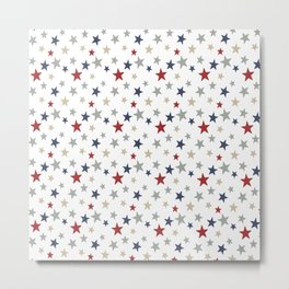 Patriotic Stars Red White Blue Repeating Pattern Vector Metal Print