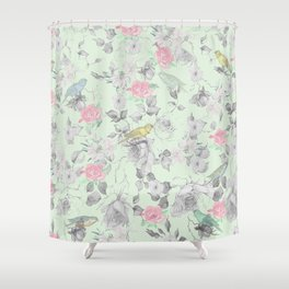 Vintage Pink White Mint Green Bird Floral Collage Shower Curtain