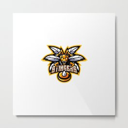 Angry Bee Mascot Logo Template Metal Print