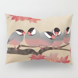 Java Sparrows in Japanese Maple Tree Pillow Sham
