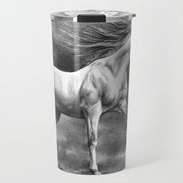 Running white horse - equine art Travel Mug
