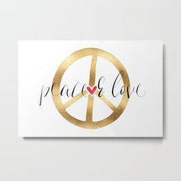 Gold Red Heart Peace Sign Metal Print