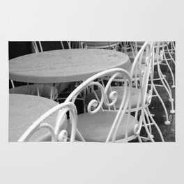 Cafe Tables and Chairs - black and white Rug