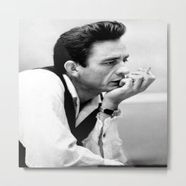 Johnny Cash Smoking, Music Print, Country Legend, Vintage photography, gift for him, Johnny Cash print, Johnny Cash poster Metal Print