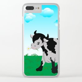 Cow on a meadow Clear iPhone Case