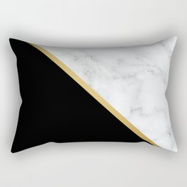 Marble, Black, White, Gold, Abstract Color Block Rectangular Pillow