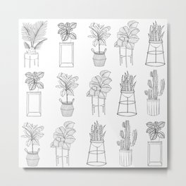 Houseplants Pattern Metal Print