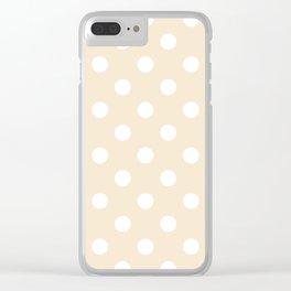 Polka Dots - White on Champagne Orange Clear iPhone Case