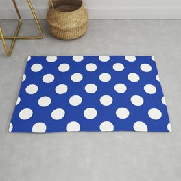 Egyptian blue - White Polka Dots - Pois Pattern Rug
