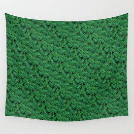 Deep Green Nostalgic Fern Grid Pattern Wall Tapestry