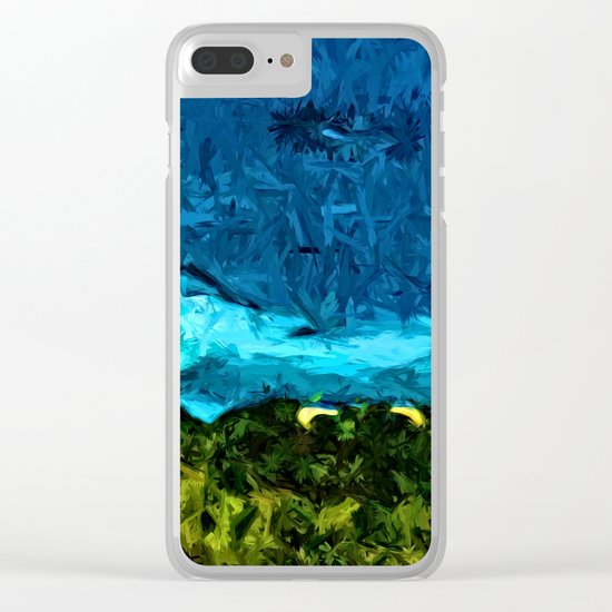 Blue Sea with Turquoise Waves and Green Grass Clear iPhone Case