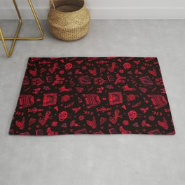 Cozy Hygge Elements in Red + Black Rug