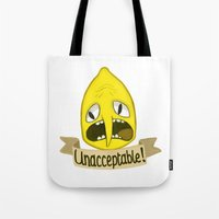 lemongrab Tote Bags featuring Lemongrab Unacceptable by Kam-Fox