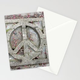 Peace sign on sidewalk in California Stationery Cards