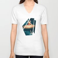 nan lawson V-neck T-shirts featuring Prima Ballerina Assoluta by Paula Belle Flores