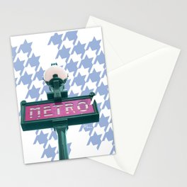 Paris Metro-poule in blue Stationery Cards