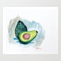 avocado Art Prints featuring Avocado by Elena Sandovici