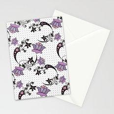 Floral pattern on black mesh . Stationery Cards