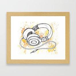 Headphones (Splash Music) Framed Art Print