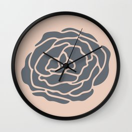 Minimalist Flower Navy Gray on Blush Pink Wall Clock
