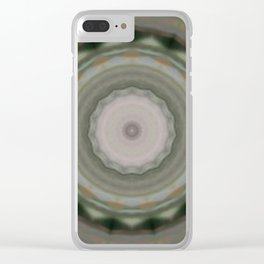 The Green Unsharp Mandala 9 (Camouflage Target) Clear iPhone Case
