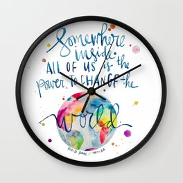 Matilda Quote - Roald Dahl - Power to Change the World Wall Clock